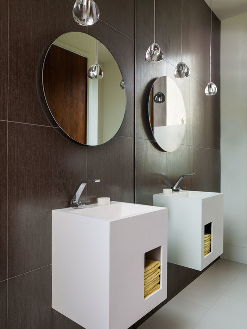Example of a trendy bathroom design in San Francisco with flat-panel ...
