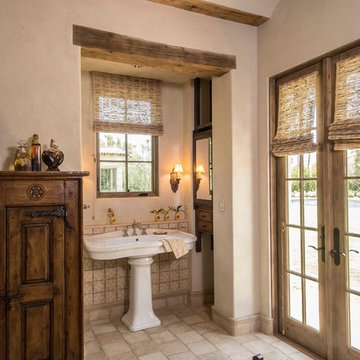 Double Door Master Bath with Hanging Wood Cabinets