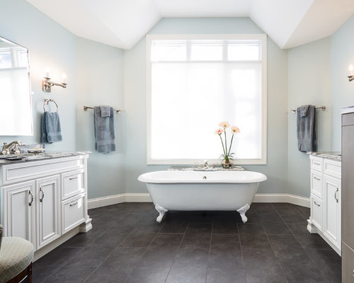 inspiration for a large shabby chic style master gray tile blue tile multicolored - Matchstick Tile Bathroom Ideas