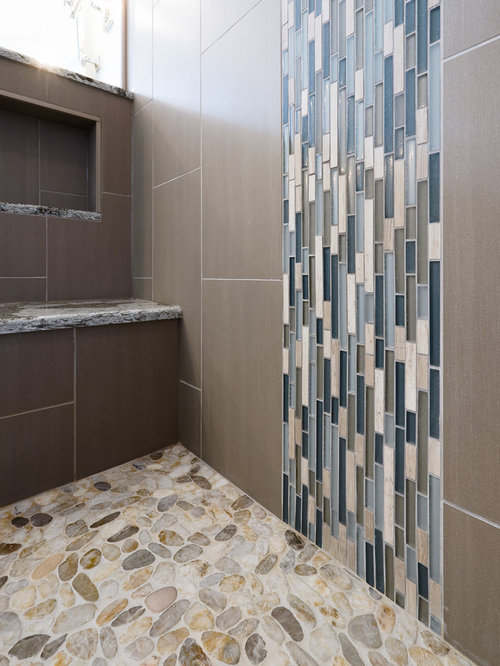 example of a large cottage chic master gray tile blue tile multicolored tile and - Matchstick Tile Bathroom Ideas
