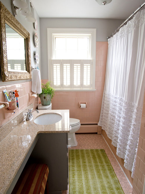 Small Eclectic Pink Tile And Ceramic Tile Ceramic Floor Bathroom Photo In  Richmond With An Undermount