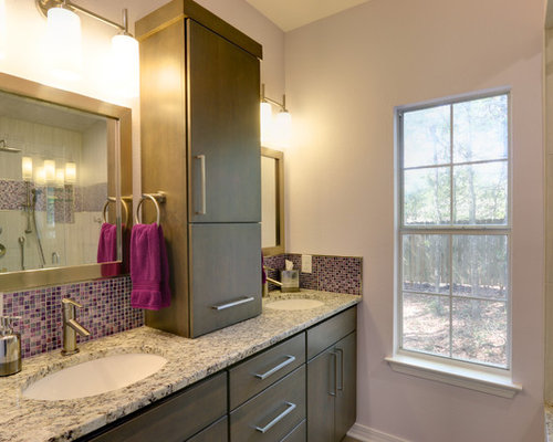 Bathroom Design Ideas Renovations Photos With Grey Cabinets And Purple Walls