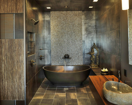Great Inspiration For An Asian Bathroom Remodel In Nashville With A Freestanding  Tub, Mosaic Tile,