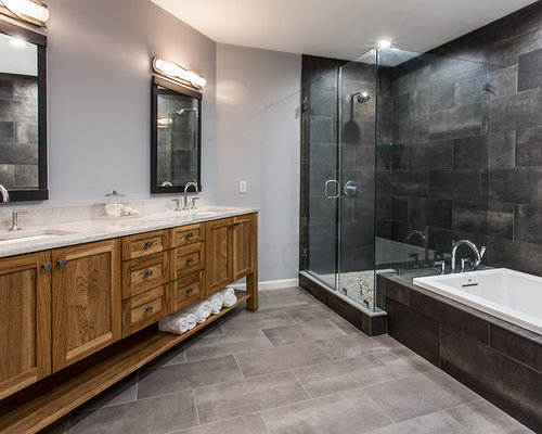 This Is An Example Of A Large Ensuite Bathroom In Richmond With Freestanding Cabinets