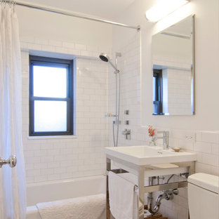 Bathroom   Small Transitional Master White Tile And Ceramic Tile Mosaic  Tile Floor And Gray Floor