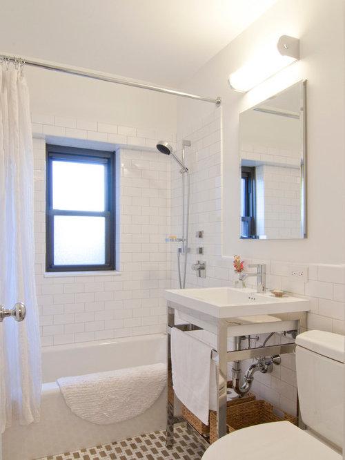 Transitional bathroom design ideas remodels photos for Small main bathroom ideas