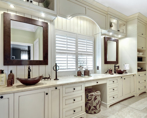 Inspiration For A Large Transitional Master Bathroom Remodel In Charleston  With A Vessel Sink, Recessed