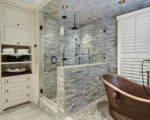 Large Elegant Master Stone Tile And Gray Tile Pebble Tile Floor Bathroom  Photo In Charleston With Part 97