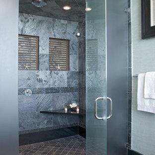 Example of a coastal gray tile walk-in shower design in Philadelphia