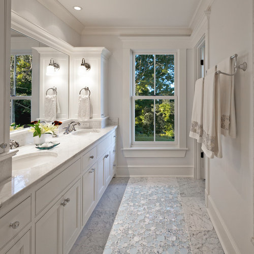 Example Of A Coastal Bathroom Design In Boston With White Cabinets, White  Walls And Recessed