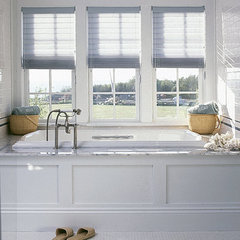 traditional bathroom drop in tub, bathroom spa feel, wainscott, beadboard, white, carrara marble