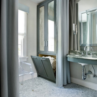 Inspiration for a mid-sized transitional bathroom in Atlanta with shaker cabinets, green cabinets, beige walls, mosaic tile floors and an undermount sink.
