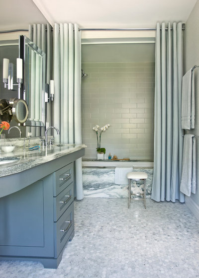 Shower Curtains And Glass Doors Transitional Bathroom By Mark Williams Design Associates