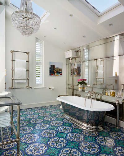 Comfortable Bath Vanities New Jersey Thick Bath Tub Mat Towel Clean Dual Bathroom Sink Painting Bathroom Vanity Pinterest Old Bathroom Toiletries Shopping List SoftLowes Bathroom Vanity Tops Room Of The Day: Bold Tile And Classic Style In A London Bath