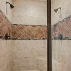 6 Foot Tub In Window Alcove Amp Glass Tile Inlaid Floors Amp Shower Bench Seat Bathroom