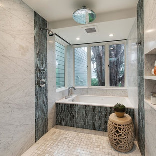 Bathroom - mid-sized transitional master gray tile and glass tile marble floor bathroom idea in San Francisco with an undermount tub