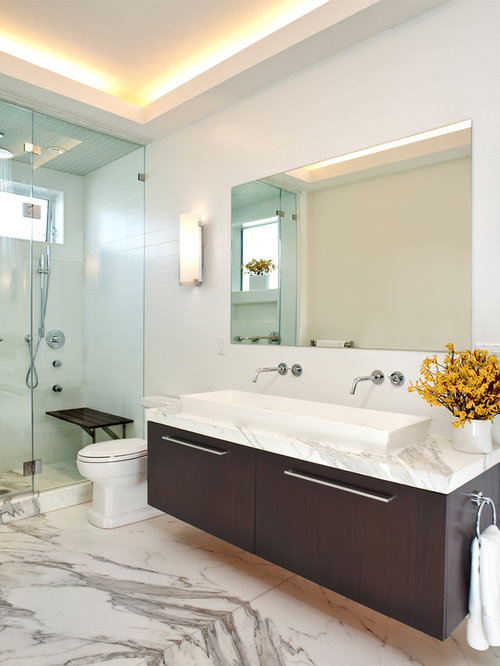 inspiration for a modern alcove shower remodel in san francisco with a trough sink flat