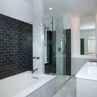 Example Of A Mid Sized Trendy Master Black Tile Gray White