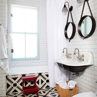 Example of a transitional kids' white tile and subway tile bathroom design in DC Metro with a trough sink