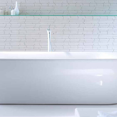 Duravit freestanding PuraVida bath - Duravit freestanding PuraVida bath features simple, uninterrupted lines. Alternatively, it is also available with rectangular acrylic panelling an integrated strip light, which offers a discreet hint of the respective furniture color, or with a soft shimmering LED light – a subtle and contemporary luxury. The collection of PuraVida baths includes one freestanding and five built-in versions.