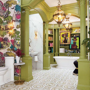 Inspiration for an eclectic master multicolored floor freestanding bathtub remodel in New York with open cabinets, gray cabinets, a one-piece toilet, multicolored walls and a pedestal sink
