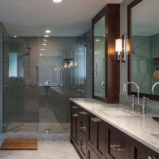 Example of a transitional bathroom design in Seattle with shaker cabinets