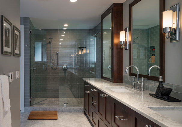 Transitional Bathroom by Dyna Contracting