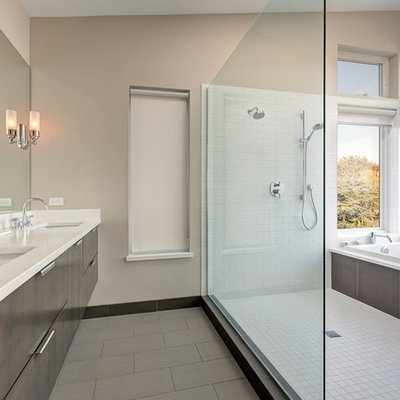 Inspiration for a contemporary bathroom remodel in Seattle with an undermount sink
