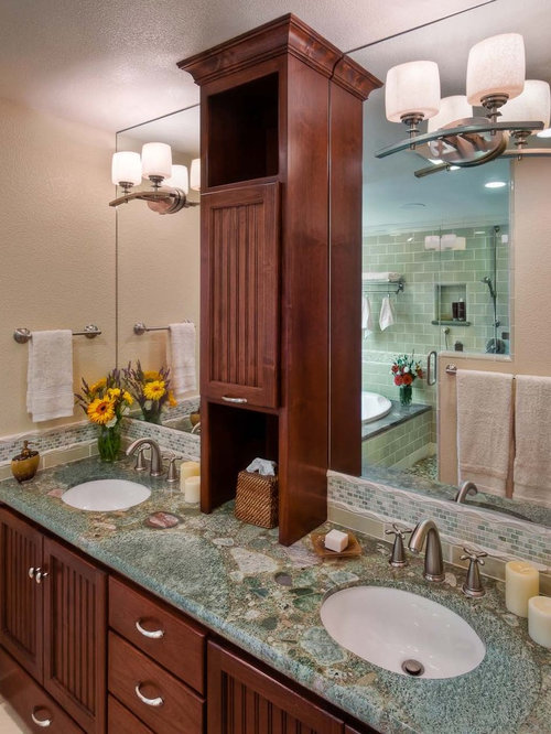 Trendy Subway Tile Bathroom Photo In San Francisco With Granite Countertops And An Undermount Sink