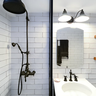 E 56th- Black & White Bathroom Remodel- Shower and Sink View