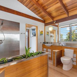Immagine di una stanza da bagno con doccia moderna con ante in stile shaker, ante in legno scuro, doccia ad angolo, WC a due pezzi, piastrelle in metallo, pareti bianche, parquet chiaro, lavabo da incasso, top in acciaio inossidabile e doccia aperta