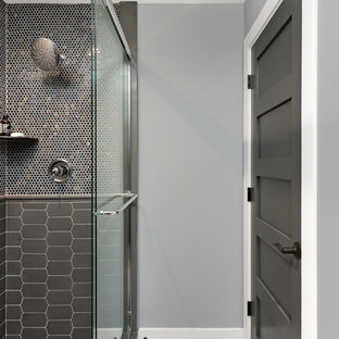 Inspiration For A Transitional Brown Tile Gray And Mosaic Beige Floor Bathroom Remodel