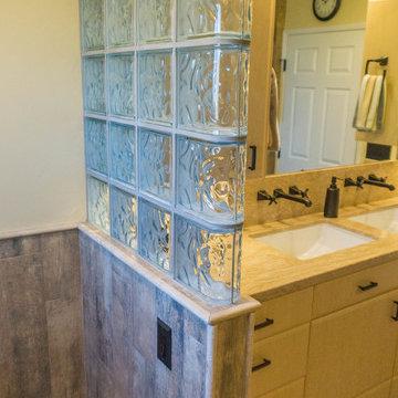 Earthy Wood & Glass Master Bath
