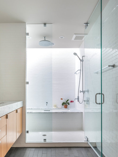 bathroom remodel shower tub combo. Inspiration for a contemporary white tile tub shower combo remodel in  Austin with flat Bath Shower Combo Houzz