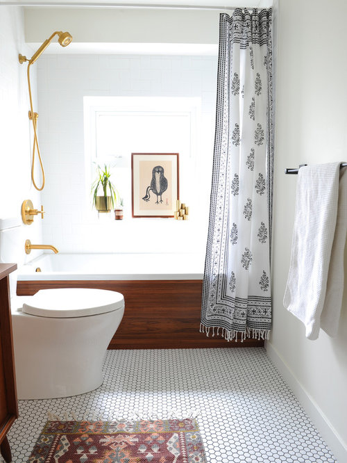 Bathroom   Small 1960s Master White Tile And Ceramic Tile Porcelain Floor  And White Floor Bathroom