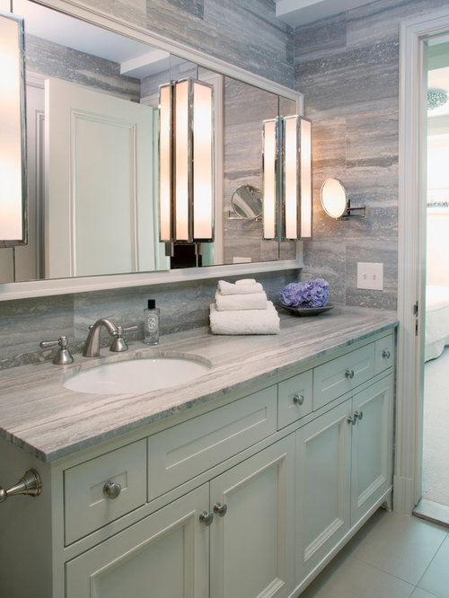 Inspiration for a large transitional master gray tile bathroom remodel in  New York with an undermount