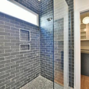 Неиссякаемый источник вдохновения для домашнего уюта: главная ванная комната среднего размера в стиле современная классика с белыми фасадами, душем в нише, плиткой кабанчик, белыми стенами, полом из мозаичной плитки, врезной раковиной, столешницей из цинка и синей плиткой