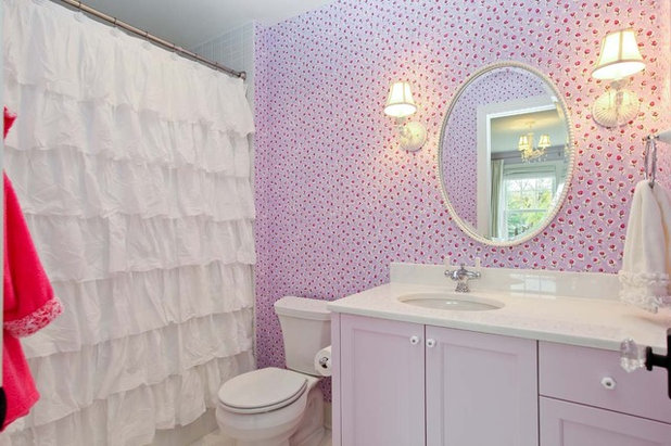 Bathroom Ideas Lilac bathroom ideas: shower curtain or shower doors?