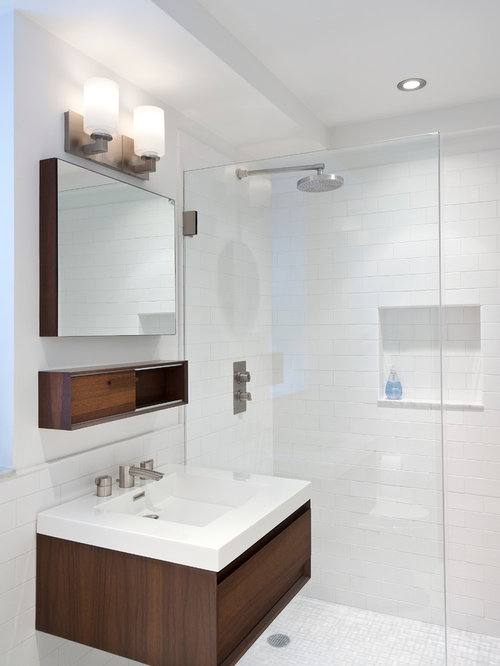 inspiration for a small modern master white tile and subway tile marble floor and gray floor