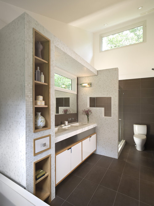 Mid Sized Contemporary Master Mosaic Tile And Brown Tile Limestone Floor  Bathroom Idea In New