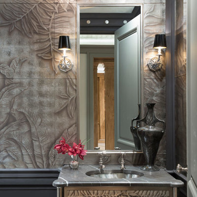 Eclectic bathroom photo in Chicago with brown walls and an undermount sink