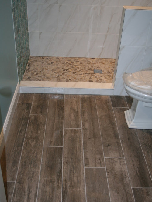 River rock floor tile