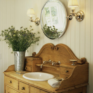 Inspiration for a coastal bathroom remodel in DC Metro with a drop-in sink