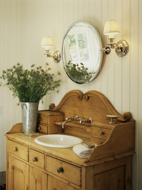 Furniture converted to bathroom vanity houzz for How to make a bathroom vanity out of furniture
