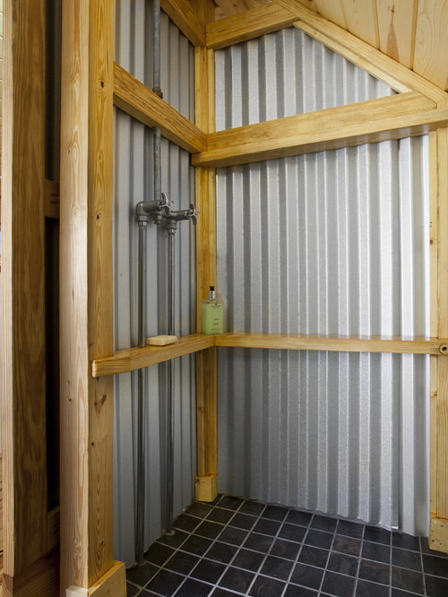 Galvanized shower home design ideas pictures remodel and for Corrugated iron bathroom ideas