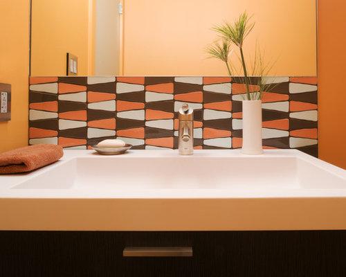 Orange Mosaic Tile Backsplash   Houzz