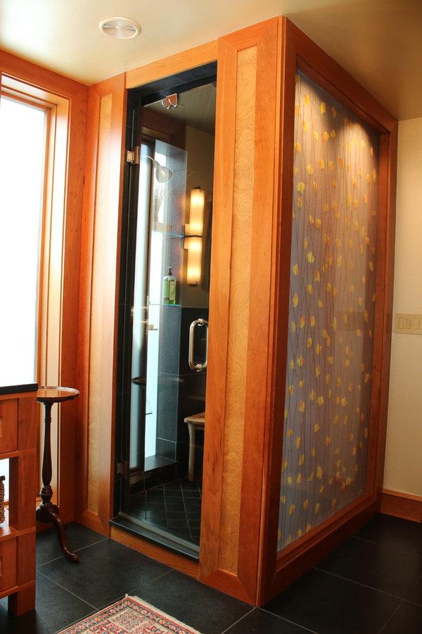Eclectic Barrington Lake Home Hall Bathroom