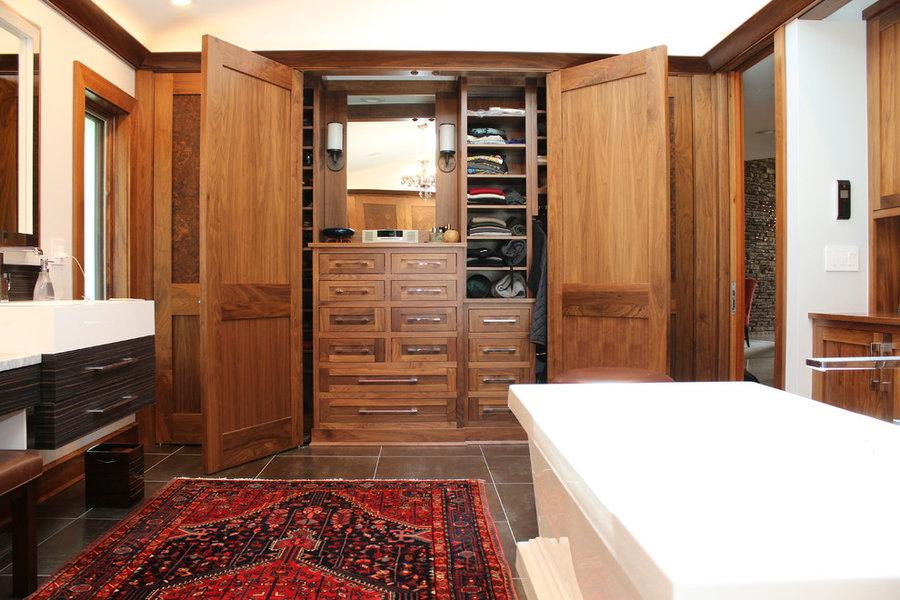 Eclectic Barrington Lake Home Master Bathroom Closet