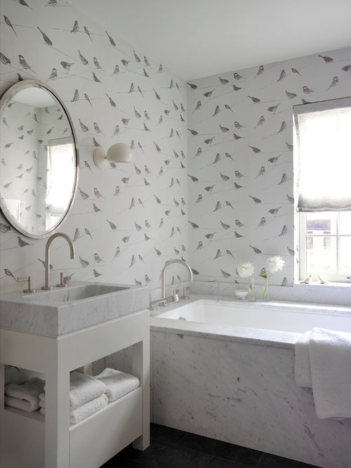 Eclectic Bathroom Photo In New York With A Wall Mount Sink Open Cabinets