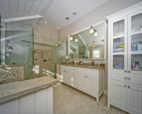 river rock bathroom houzz